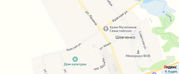 Красная улица на карте хутора Шевченко Адыгеи с номерами домов