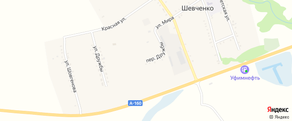 Улица Дружбы на карте хутора Шевченко Адыгеи с номерами домов