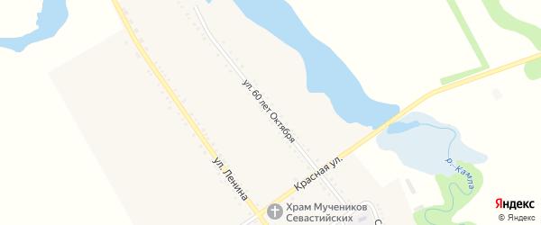 Улица 60 лет Октября на карте хутора Шевченко Адыгеи с номерами домов