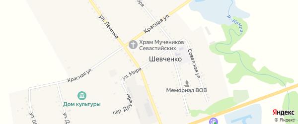 Улица Мира на карте хутора Шевченко Адыгеи с номерами домов