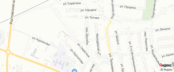 Переулок Дружбы на карте Россоши с номерами домов