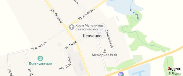 Переулок Дружбы на карте хутора Шевченко Адыгеи с номерами домов