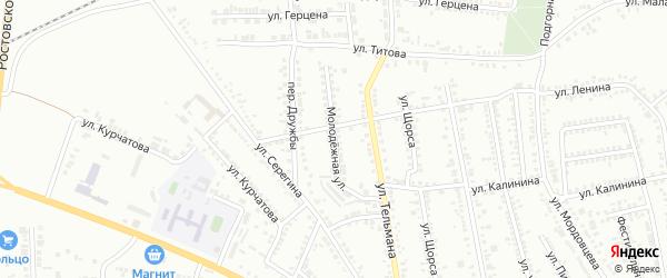 Молодежная улица на карте Россоши с номерами домов