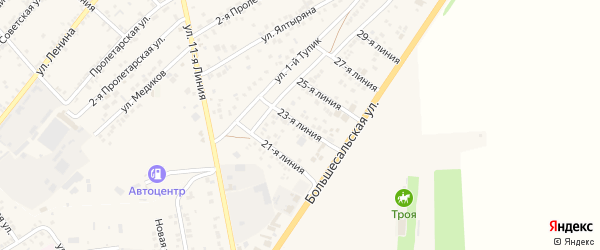 23-я линия на карте села Крыма Ростовской области с номерами домов