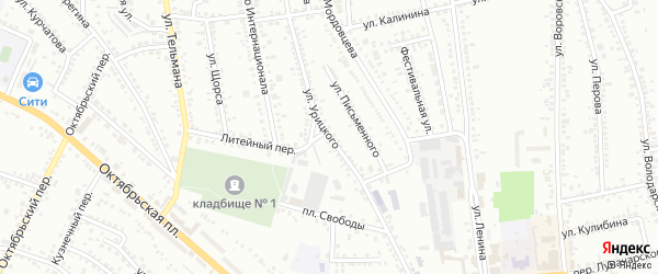 Улица Урицкого на карте Россоши с номерами домов
