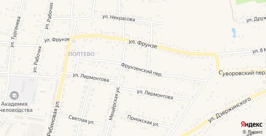 Фрунзенский переулок в Рыбном с номерами домов на карте. Спутник и схема онлайн