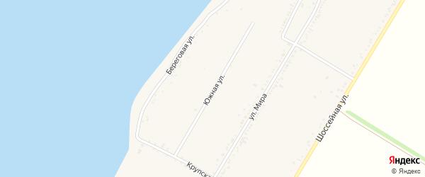 Южная улица на карте Красногвардейского села с номерами домов