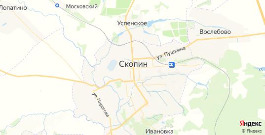 Карта Скопина с улицами и домами подробная. Показать со спутника номера домов онлайн