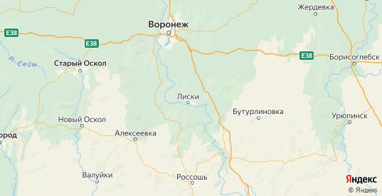 Карта Лискинского района Воронежской области с городами и населенными пунктами