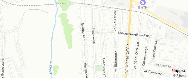Зеленая улица на карте Россоши с номерами домов