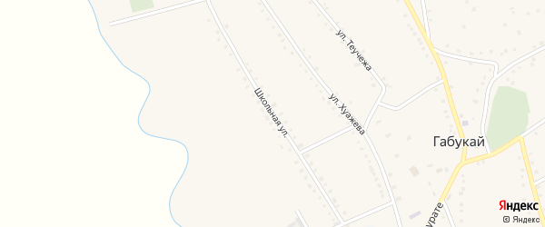 Школьная улица на карте аула Габукая с номерами домов