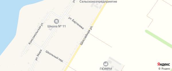 Шоссейная улица на карте Красногвардейского села Адыгеи с номерами домов