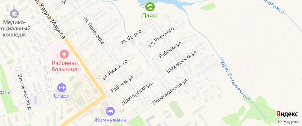 Рабочая улица на карте Скопина с номерами домов
