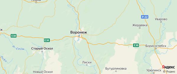 Карта Новоусманского района Воронежской области с городами и населенными пунктами