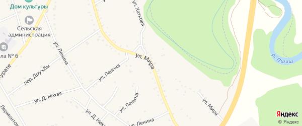 Улица Мира на карте аула Габукая Адыгеи с номерами домов