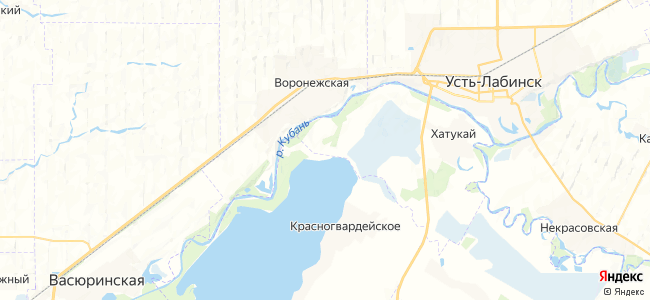 Водный на карте