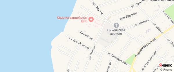 Глухой переулок на карте Красногвардейского села Адыгеи с номерами домов