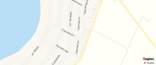 Светлая улица на карте Красногвардейского села с номерами домов