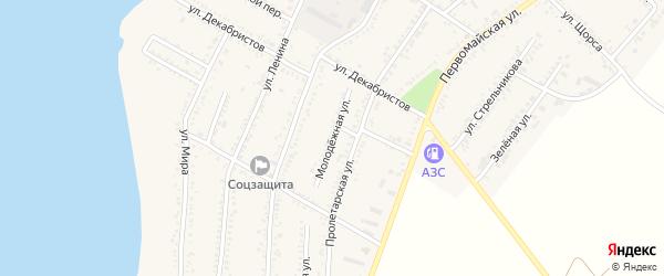 Молодежная улица на карте Красногвардейского села Адыгеи с номерами домов