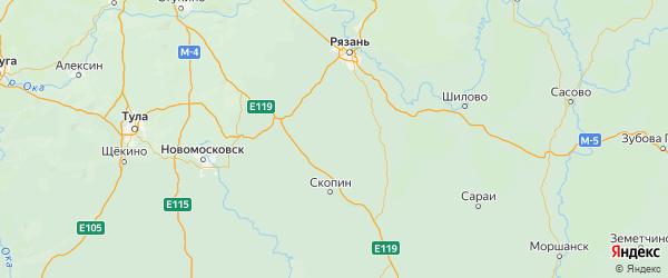 Карта Пронского района Рязанской области с городами и населенными пунктами