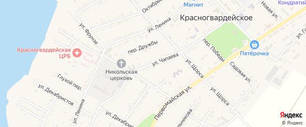 Улица Чапаева на карте Красногвардейского села Адыгеи с номерами домов