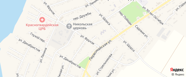 Улица Сухомлинского на карте Красногвардейского села Адыгеи с номерами домов