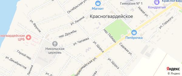 Улица Щорса на карте Красногвардейского села Адыгеи с номерами домов