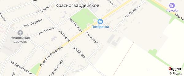 Садовая улица на карте Красногвардейского села Адыгеи с номерами домов