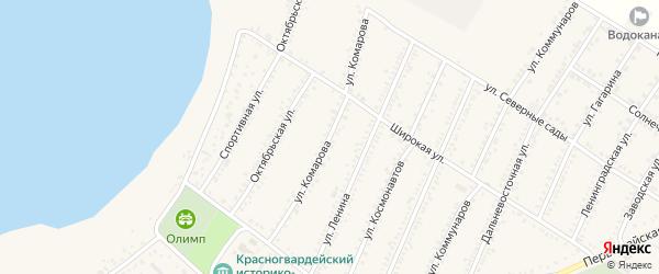 Улица Комарова на карте Красногвардейского села Адыгеи с номерами домов