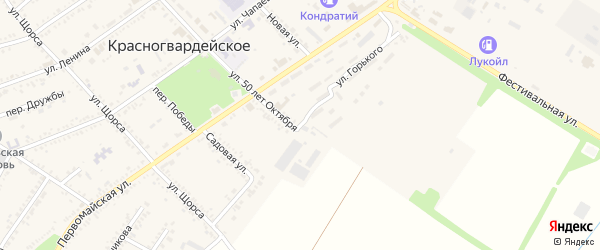 Улица Горького на карте Красногвардейского села Адыгеи с номерами домов