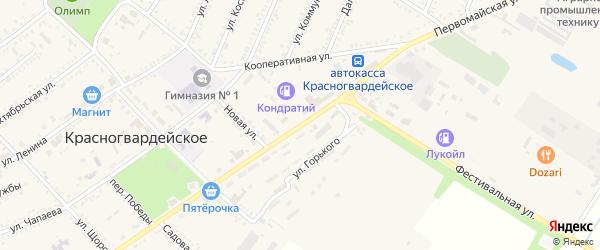 Первомайская улица на карте Красногвардейского села Адыгеи с номерами домов
