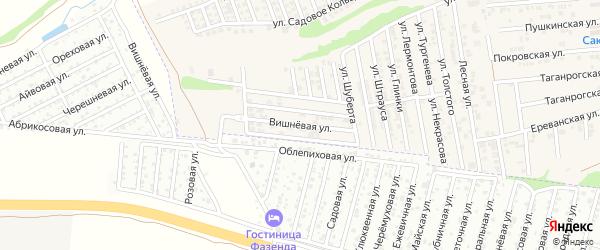 Вишневая улица на карте хутора Ленинавана Ростовской области с номерами домов