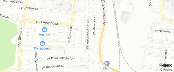 Железнодорожная улица на карте Россоши с номерами домов