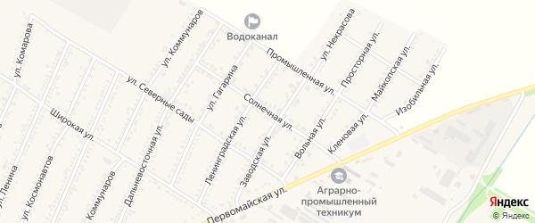 Солнечная улица на карте Красногвардейского села с номерами домов