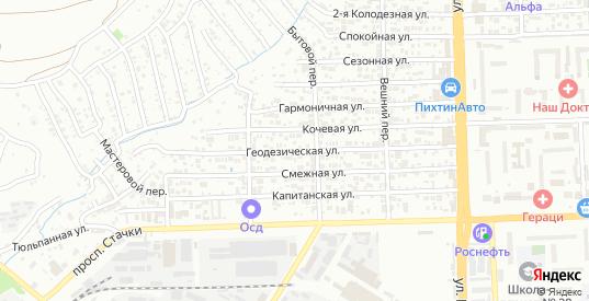 Геодезическая улица в Ростове-на-Дону с номерами домов на карте. Спутник и схема онлайн