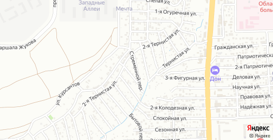 Стременной переулок в Ростове-на-Дону с номерами домов на карте. Спутник и схема онлайн