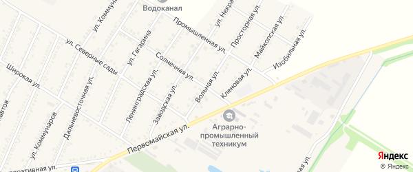 Вольная улица на карте Красногвардейского села Адыгеи с номерами домов