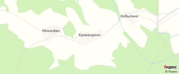 Карта деревни Кривандино в Ярославская области с улицами и номерами домов
