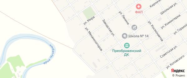 Улица Механизаторов на карте Преображенского села Адыгеи с номерами домов