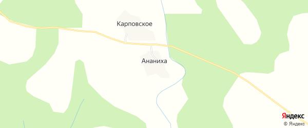 Карта деревни Ананихи в Вологодской области с улицами и номерами домов