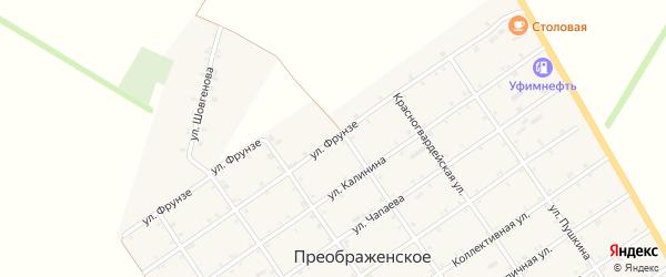 Улица Фрунзе на карте Преображенского села Адыгеи с номерами домов