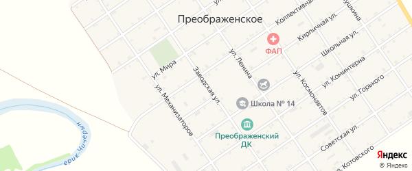 Заводская улица на карте Преображенского села Адыгеи с номерами домов