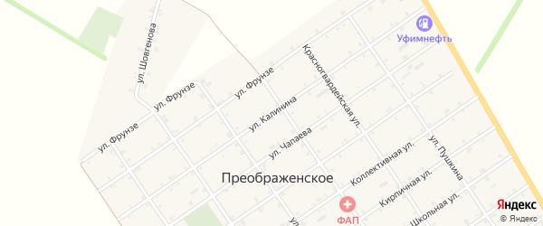 Улица Калинина на карте Преображенского села Адыгеи с номерами домов