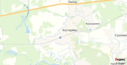 Карта Костерево с улицами и домами подробная. Показать со спутника номера домов онлайн
