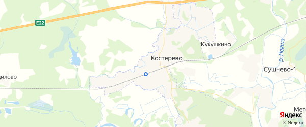 Карта Костерево с районами, улицами и номерами домов: Костерево на карте России
