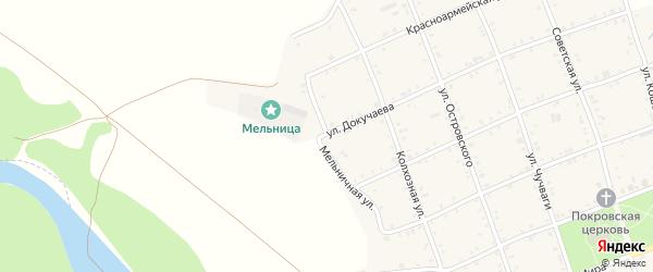 Мельничная улица на карте Белого села Адыгеи с номерами домов