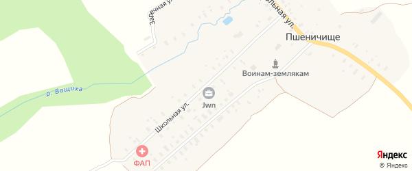 Школьная улица на карте села Пшеничища Ярославская области с номерами домов