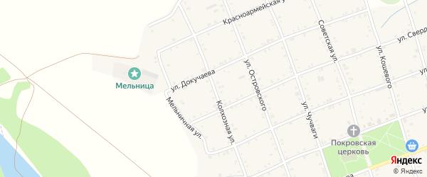 Колхозная улица на карте Белого села Адыгеи с номерами домов