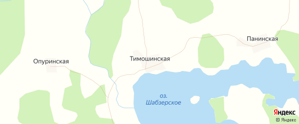 Карта Тимошинская деревни в Вологодской области с улицами и номерами домов