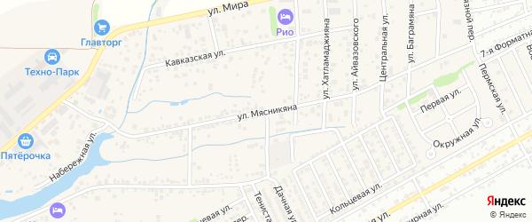 Улица Мясникяна на карте хутора Ленинавана Ростовской области с номерами домов